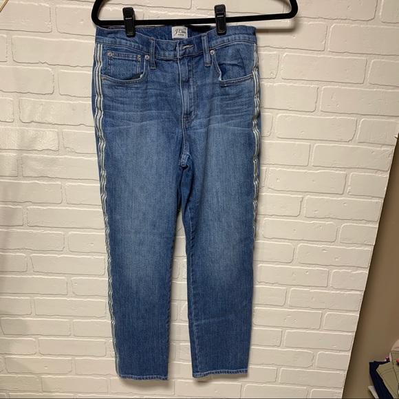 J Crew Race Stripe Skinny Jeans 27